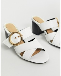 Head over Heels by Dune Head Over Heels Joliee White Slip On Heeled Mules With Gold Ring Detail