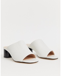 Office Mila White Faux Leather Sandals With Contrast Heel