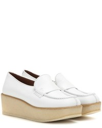 White Leather Platform Loafers