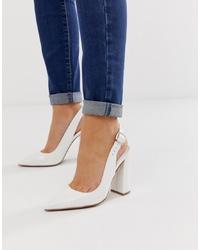 ASOS DESIGN Penley Slingback High Heels In White Patent