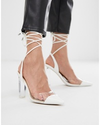 ASOS DESIGN Pucker Up Tie Leg Pointed High Heels In Whiteclear