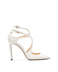 Jimmy Choo White Lancer 100 Patent Leather Pumps