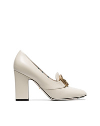 Gucci White Victoire 95 Gg Loafer Heels