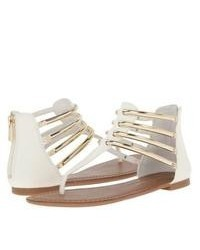 White Leather Thong Sandals