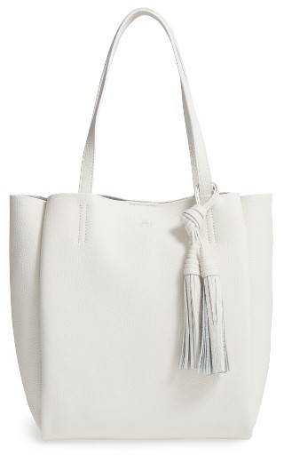 £193, Vince Camuto Small Taja Leather Tote With Tassel Charm Blue