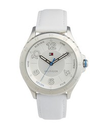 Tommy Hilfiger Casual Sport Round Leather Strap Watch 40mm White