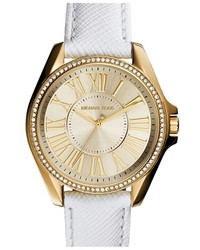 MICHAEL Michael Kors Michl Michl Kors Michl Kors Kacie Crystal Bezel Leather Strap Watch 39mm Case