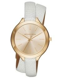 MICHAEL Michael Kors Michl Michl Kors Slim Runway Leather Strap Watch 42mm White Gold