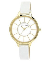 Anne Klein Round Slim Leather Strap Watch 38mm White Gold