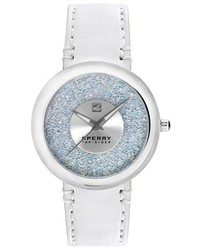 Sperry Sandbar Glitter Dial Leather Strap Watch 40mm