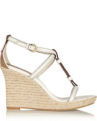 Burberry London Brit Textured Leather Espadrille Wedge Sandals