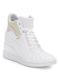 White Leather Wedge Sneakers
