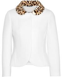 Maison Margiela Leopard Print Velvet Trimmed Neoprene Jacket Off White