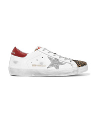 Golden Goose Deluxe Brand Superstar Glittered Distressed Leather And Leopard Print Calf Hair Sneakers
