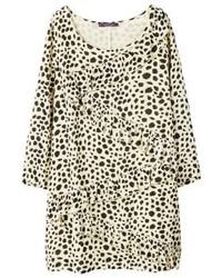 Mango Leopa Summer Dress Ecru