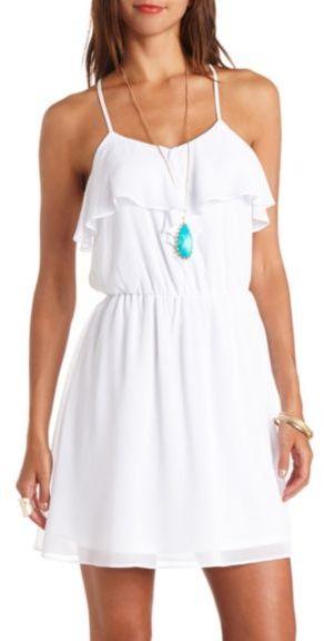 ... Casual Dress: Charlotte Russe Strappy Back Chiffon Ruffle Dress