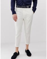 Gianni Feraud Pleated Linen Cropped Trousers