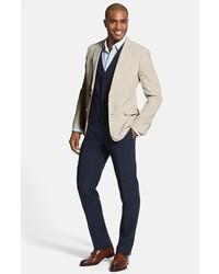 4f7d6361a2 ... Nordstrom Shop Flat Front Slim Leg Linen Trousers ...