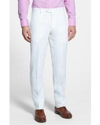 Nordstrom Shop Flat Front Slim Leg Linen Trousers