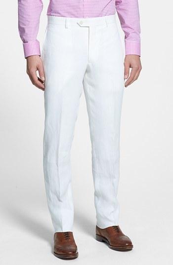 3151608559 ... White Linen Dress Pants Nordstrom Shop Flat Front Slim Leg Linen  Trousers ...
