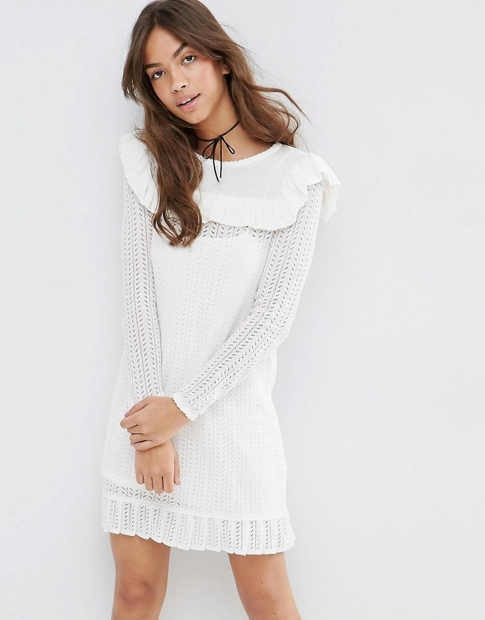b3947e6068 ... Asos Collection Dress In Pointelle Stitch With Ruffle Detail ...