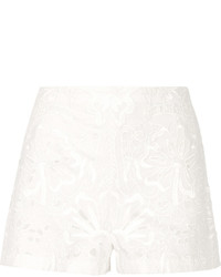Theory Micro E Broderie Anglaise Linen And Cotton Blend Shorts White