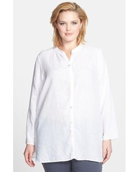 Eileen Fisher Mandarin Collar Linen Shirt White 2x