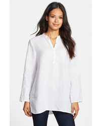 Eileen Fisher Mandarin Collar Organic Linen Tunic White Large