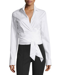 Michael Kors Michl Kors Collection Long Sleeve Wrap Front Blouse White