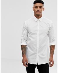Hugo Elisha01 Tonal Logo Extra Slim Fit Shirt In White