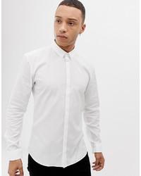 Hugo Ero3 Extra Slim Fit Placket Bar Logo Shirt In White