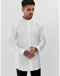 Hugo Ertis Grandad Collar Shirt With Concealed Placket In White