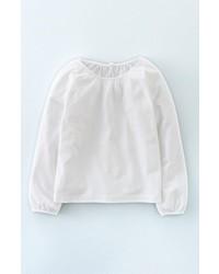Girls Mini Boden Easy Pretty Long Sleeve Jersey Top Size 6 7y White