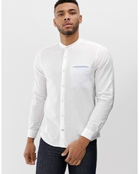 Pull&Bear Join Life Shirt With Granddad Collar Shirt In White