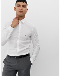 Calvin Klein Skinny Fit Shirt Easy Iron White At Asos