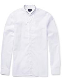 Lanvin Slim Fit Band Collar Cotton Poplin Shirt
