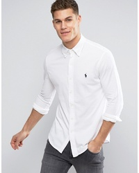 Polo Ralph Lauren Slim Fit Pique Shirt Player Logo In White