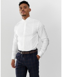 ASOS DESIGN Slim Sa Shirt With Pleated Front Placket