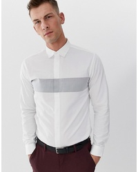 Selected Homme Slim Shirt With Body Stripe And Concealed Placket