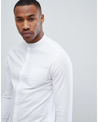 ASOS DESIGN Smart Skinny Oxford Shirt With Grandad Collar In White