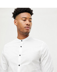 ASOS DESIGN Tall Slim Shirt With Grandad Collar Contrast Buttons