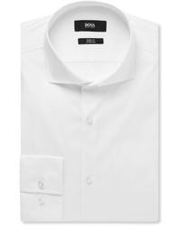Hugo Boss White Jason Slim Fit Cutaway Collar Cotton Blend Shirt