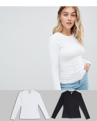 Asos Petite Asos Design Petite Ultimate Top With Long Sleeve And Crew Neck 2 Pack Save