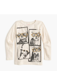 J.Crew Girls Cat In Glitter Glasses Nye Long Sleeve T Shirt