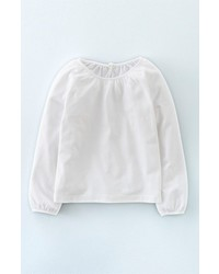 Girls Mini Boden Easy Pretty Long Sleeve Jersey Top Size 6 7y White