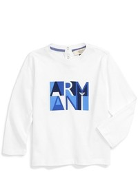 Armani Junior Infant Boys Long Sleeve Logo T Shirt