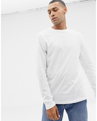 ASOS DESIGN Long Sleeve T Shirt With Crew Neck In White
