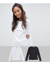 ASOS DESIGN Ultimate Top With Long Sleeve And Crew Neck 2 Pack Save