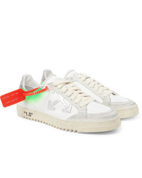 Off-White 20 Distressed Suede Trimmed Leather Sneakers
