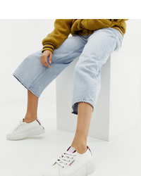 Superga 2297 White Chunky Trainers With Stripe Webbing